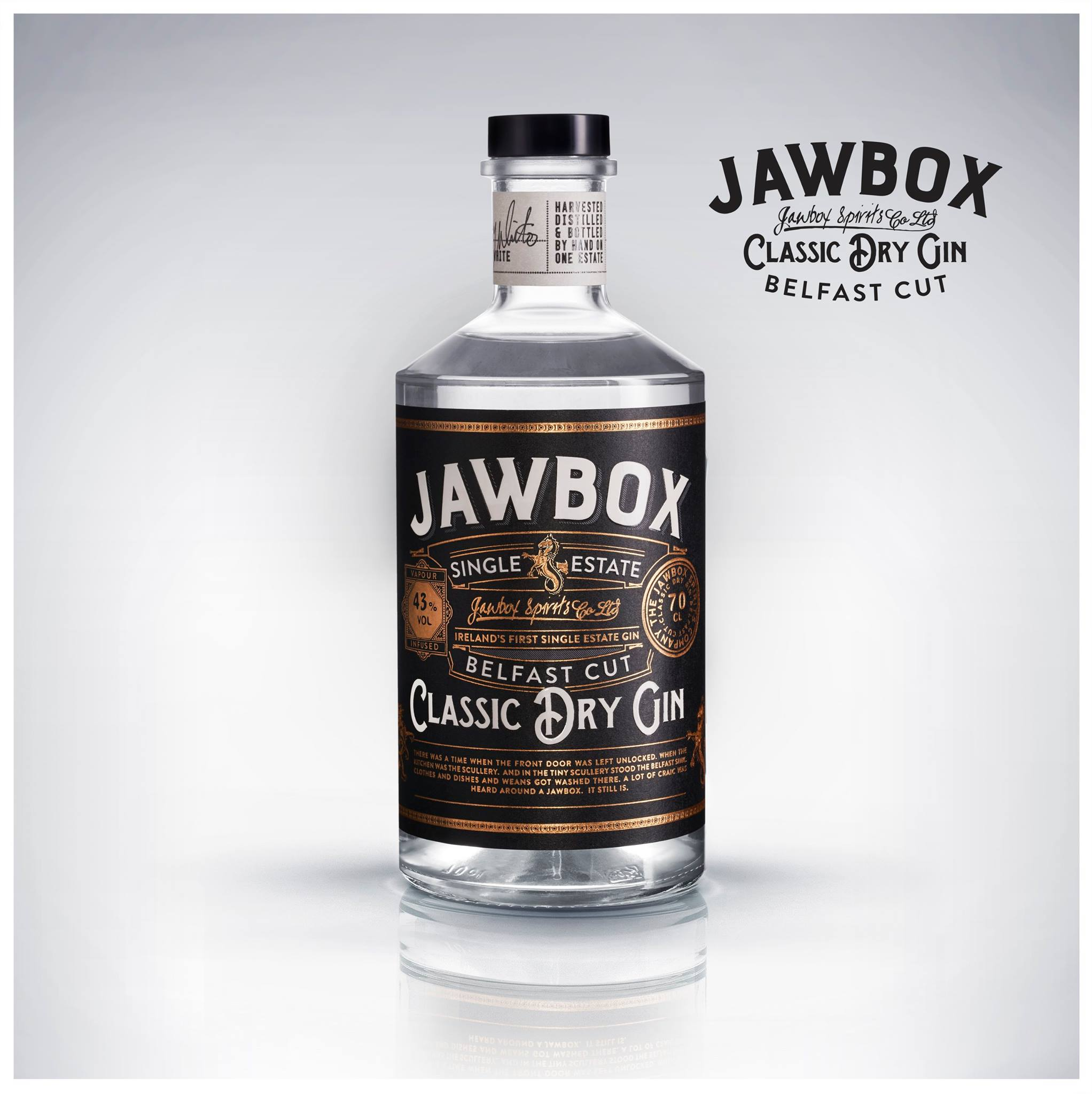 Jawbox Gin: Client Drinksology / Jawbox Gin more bottle imagery in drinks gallery.